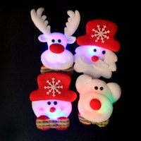 Wholesale Snow Brooch - LED Christmas Brooches 120pcs lot Snow man Santa Claus Elk Bear Pins Badge Light Up Brooch Christmas Gift Party decoration