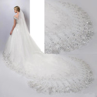 Wholesale Net Metering - Luxury Beading Crystal 3 Meters Cathedral Length Bridal Veils White Ivory Lace Applique Sequins Edge With Comb Wedding Veil CPA887