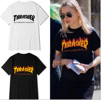 Wholesale Black Star Shirt - so hot!2017 fashion tide brand - this star with sweater flame short sleeve   men and women hip-hop tide brand T-shirt XXS-4XL