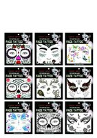 Wholesale Tattoos Face Best - 2017 New Safe Face Tattoos Face Temporary Tattoos Hallowmas Tattoos 9 Style Best Quality DHL Free Shipping