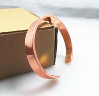 Wholesale Mens Health Bracelets - 100% Copper Cuff Bangle Health Balance Magnetic Pure Copper Bracelet Bangles For Mens Women Trendy Handcuffs Bracelets