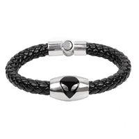 Wholesale bracelets cat eyes resale online - Titanium Stainless Steel Magnetic Clasp Leather Bracelet Wristband Women Men Charm Bracelets Jewelry Cat Eye Trend Jewelry Christmas Gift