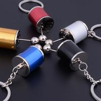 Wholesale Auto Zinc Parts - Six-speed Manual Transmission Shift Lever Keychain Creative Auto Part Model Automotive Keyring Key Chain Ring Keyrings Keyfob