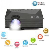 Atacado-Mini UC46 LED Projector 1200LM 1080P Apoio Miracast Airplay Home Theater Cinema Entretenimento em Casa para iPhone / Smart Phone