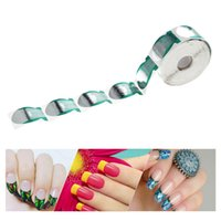 Wholesale fish nail art - Wholesale- 500Pcs Roll Nail Form Sticker Acrylic UV Gel Nail Extension Guide Fish Shape Nail Art Tip Extension Professional Manicure Tool