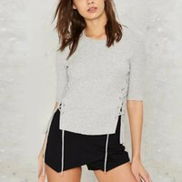 Wholesale Eyelet Lace Bow - Wholesale-Sexy Screw Thread Knitted Metal Eyelets Lacing Up Cross Rope Designs Split Side bralette bustier O-Neck Pullover Tops 3 Colors