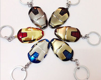 Wholesale Marvel Accessories Wholesale - High quality alloys Marvel Super Hero The Avengers 2 to Iron Man Mask Metal Keychain Pendant Key Chains