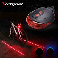 Vente en gros- VICTGOAL Bicycle Light 2 Lasers Night Cycling Mountain Road Bike Saddle Safety Light MTB Feux arrière Lamp Backlight 7 Mode N1003