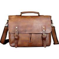 """Wholesale vintage leather briefcase laptop - Wholesale- Vintage Classic Briefcase Genuine Natural Leather Messenger Bag Men's Handbag Casual&Business Bag Shoulder Bag For 13"""" Laptop"""