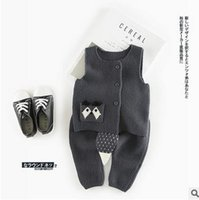 Spring / Autumn squirrel outfit - Kids outfits INS baby boys girls suspender Cardigan squirrel waistcoat knitting pants sets Autumn cute Newborn clothing G0814