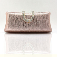 Wholesale Crystal Rose Evening Handbag - Wholesale- Ladies crystal diamond buckle rose gold evening bag day clutch wedding bridal package marry bag small mini handbag WY83