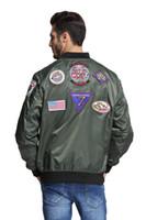 patchs d'armes à feu achat en gros de-patchs MA1 top gun Navy veste militaire armée militaire vert hip hop streetwear letterman varsity bomber veste de vol pour homme