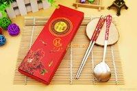 caixa de presente do partido da cozinha venda por atacado-Estilo chinês Pauzinhos Colher Criativa Cozinha Ambiental Chopsticks Colher com caixa de presente vermelha para festa de casamento favorece presente Y269