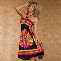 Wholesale Big Suspender - 2017 New Fashion Women Wear Sexy Suspenders Shoulder African National Print Tops Beach Dresses Big Skirts #Y