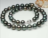 """Wholesale black cultured pearl beads - Natural 9-10mm Black Tahitian Cultured Pearl Round Beads Necklace 18""""HU2118"""