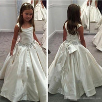 Wholesale Big Ivory Satin Bow - Vintage Ivory Satin Wedding Flower Girl Dresses 2017 With Beaded Sash Big Bow Floor Long Formal Girl Birthday Party Gowns Pageant Prom Dress