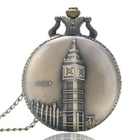 Wholesale Big Ben Souvenir - Wholesale- Antique Retro Bronze Copper Big Ben London Souvenir Quartz Pocket Watch Clock Hour Necklace Pendant Chain Xmas Gifts P82