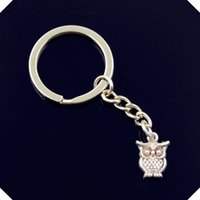 Compra Porta Anello Gufo-nuovo-fashion-men-30mm-keychain-DIY-metal-holder-catena-vintage-big-eyes-owl-16-12mm-chiave d'argento
