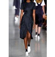 Wholesale Designer Women Skirt - 2017 summer fashion Designer runway Striped Career Skirt Female vestido