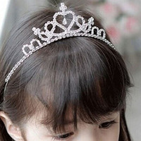 Wholesale Leather Hair Combs - The Crown Princess hair headdress children Festival diamond crown delicate little girl head hoop hoop.