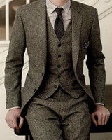 Wholesale Slim Tailcoat - 2017 Latest Coat Pant Designs Gray Tweed Groom Tuxedos 3 Piece Slim Fit Mens Wedding Prom Dinner Suits(Jacket+Pants+Vest) terno