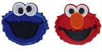 Wholesale Elmo Applique - Elmo iron on patches lovely Animal cartoo fabric Applique badge clothing accessori DIY applique biker vest embroidered wholesale