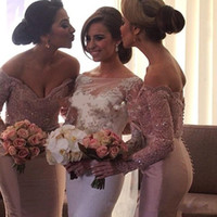 Wholesale Super Size Wedding Dresses - Dusty Pink Off Shoulder Bridesmaid Dresses Wedding Formal Gowns Super Sexy Mermaid Long Sleeves Maid Of Honor Dress