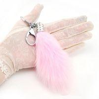Wholesale Black Rabbit Tail - Brand New Fashion Lovely Fluffy Fur Tail Keychain Women Trinket Rabbit Fur Keyring Female Toy Doll Girls Bag Charms Key Ring Gift