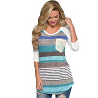 Wholesale Wholesale Linen Clothing Women - Autumn Fashion Women Casual Loose Long Sleeve Striped Pocket T Shirts Tops Clothes