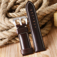 Wholesale Aviator Watch Bands - Wholesale- 24 26mm Padded Pin Buckle Smooth Replacement High Quality Soft New Arrival Belt Genuine Leather Wrist Watch Band Strap Aviator