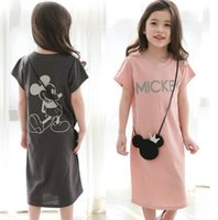 Wholesale Wholesale Long Straight Skirts - 2017 Children's summer girls dresses Korean short sleeve dress cute mikey pure cotton long dress letters pure color skirt B4690