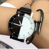 Wholesale Mens Glasses Trends - New 2017 fashion black and white lovers leather watches simple trend women mens ladies dress quartz special party wrist watches