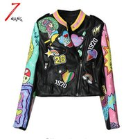 Wholesale Woman Coat Short Hands - 2017 Fashion Autumn Women Heavy Cute Cartoon Graffiti Printing Street Short Leather Jacket Black Zipper Motorcycle Coat
