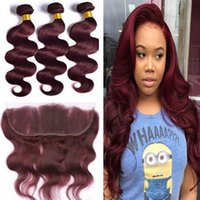 Wholesale Wine Red Color Hair - 9A Brazilian Burgundy hair With Lace Frontal Closure 13x4inch Body Wave #99J Wine Red Human Hair Bundles With Ear to Ear Full Frontals