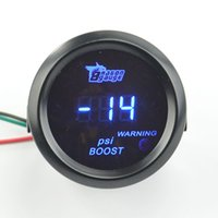 Wholesale Psi Gauge - Wholesale- 52mm Digital Turbo Boost Gauge Meter with Sensor Unit -14~29 PSI Blue light And Red Warning Light Free shipping