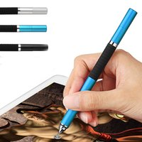Wholesale Capacitive Stylus Fine - Wholesale- 2 in 1 Mini Metal Fine Point Round Thin Tip Capacitive Stylus Pen For iPad 2 3 4 5 air mini For Amazon Tablet