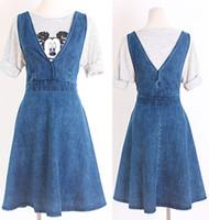Wholesale Dress Girl Denim - Women Girls Student V-neck Sweet Fashion Casual Light Blue Short Sleeve Denim Dress Skirt Clothes 2970