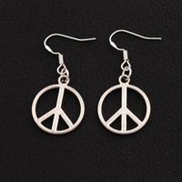 Wholesale Dangle Peace - Peace Sign Earrings 925 Silver Fish Hook Dangle 40pairs lot Tibetan Silver Earrings 18x37mm Dangle & Chandelier 13030332