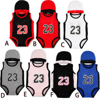 Wholesale kids size hats - Baby digital romper summer infant 23 number Jumpsuits kids Climbing clothes with hat C2677