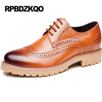 Wholesale Nude Color Work Dress - Formal Shoes British Style Work Business Wingtip Men Tan Chic Real Leather Latest Footwear Fashion Flats New Yellow Dress Autumn