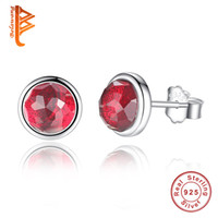 Wholesale Months Stones - BELAWANG Wholesale 12 Colors for 12 month Imitation Gem Stone Earrings 925 Sterling Silver Crystal Stud Earrings Women Wedding Dress Jewelry