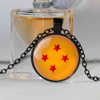 Wholesale Glass Dragon Balls Set - 1pcs Dragon Ball z 4 star Necklace Dragon Ball inspired Pendant, Glass Cabochon Necklace