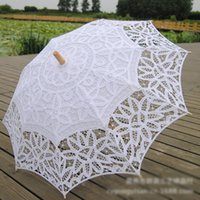 Wholesale White Lace Umbrella Wholesale - Cotton Bridal Parasol Handmade Battenburg Lace Embroidery White Sun Umbrella Elegant Wedding High Quality Photo Props