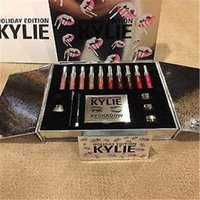 Boxeo Internacional Baratos-Lo nuevo de Kylie Cosmetics Holiday Collection Maquillaje Big Box PREORDER INTERNATIONAL 10 color de brillo de labios, Shadow Palette, crema de sombra, eye linner