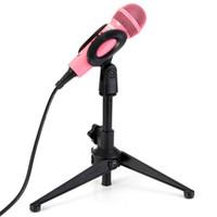 trípode de mano al por mayor-PC-03 Mesa de mano ajustable profesional Trípode Micrófono Soporte de MIC Soporte con Clip Mount Shock para KTV Karaoke