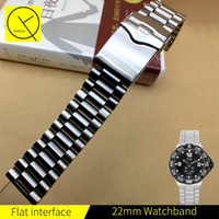 Wholesale Wrist Watch Strap Tools - YQ 22mm Stainless Steel Watch Bands Strap Silver Mens Luxury Bracelet Replacement Wrist WatchBand For TAG Heuer with Tools