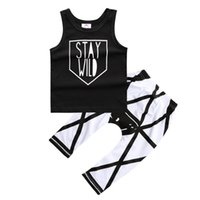 Wholesale Cute Boy Tank Top - Summer Boys Clothing Fashion Letter Printed Tank Tops Trousers Outifits For Babies Newborn Cotton 2 pcs Boutique Clothes Sets