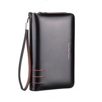 Wholesale Large Wallet Clutch Organizer - Wholesale- Double Zipper Men Genuine Leather Business Clutch Bag Handbag Men Leather Wallet Male Purse Large Capacity Carteira Masculina