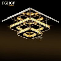 Wholesale Square Crystal Ceiling Lamp - Modern LED Ceiling light Square Crystal Lustre Luminarias Para Sala led lamps for home aisle corridor balcony kitchen fixtures