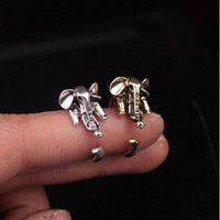 Wholesale 3d Rings - New Punk Long Nose Elephant Ring Antique Silver Bronze Color Retro Style Woman Unique Adjustable 3D Animal Rings